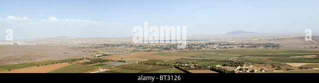 Israel, Golan Heights, The Valley of Tears (Emek Habacha) on the Syrian border Panorama - Stock Image
