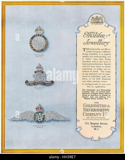 1918 British advertisement for the Goldsmiths & Silversmiths Company - Stock Image