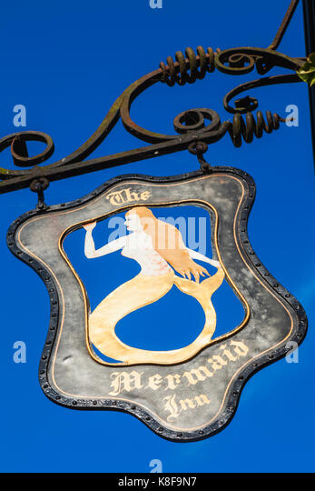England, East Sussex, Rye, The Mermaid Inn, Hotel Sign - Stock Image