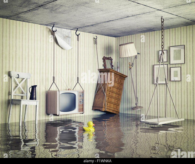 ordinary life in the flooded flat. 3d concept - Stock Image