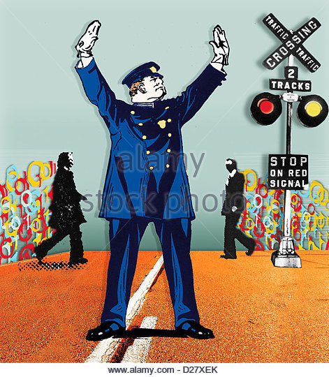 Policeman stopping traffic at railroad crossing for businessmen - Stock Image
