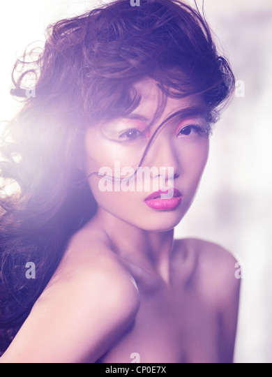 Expressive beauty portrait of an asian woman with artistic makeup - Stock-Bilder