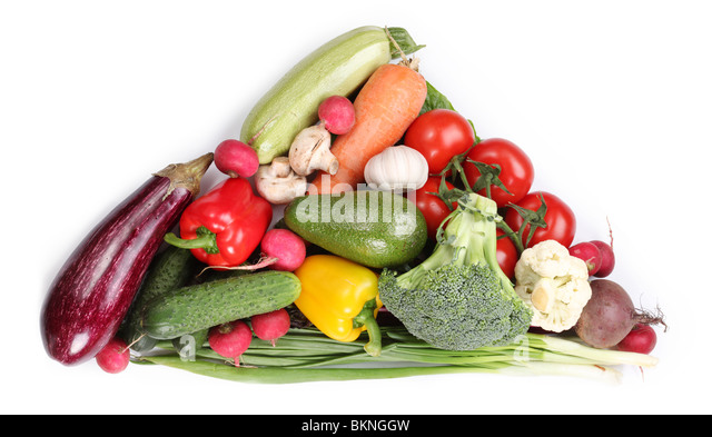 With vegetables in a triangle. Isolated on white background - Stock Image