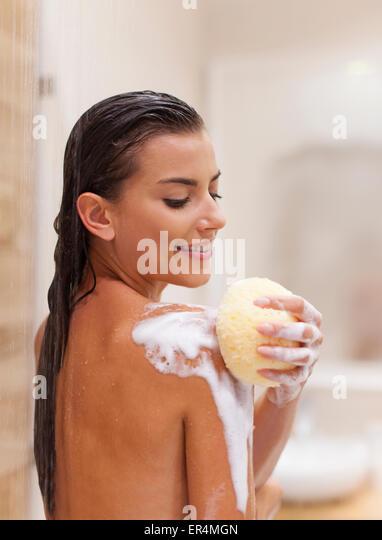 Pure pleasure of taking a shower. Debica, Poland - Stock Image