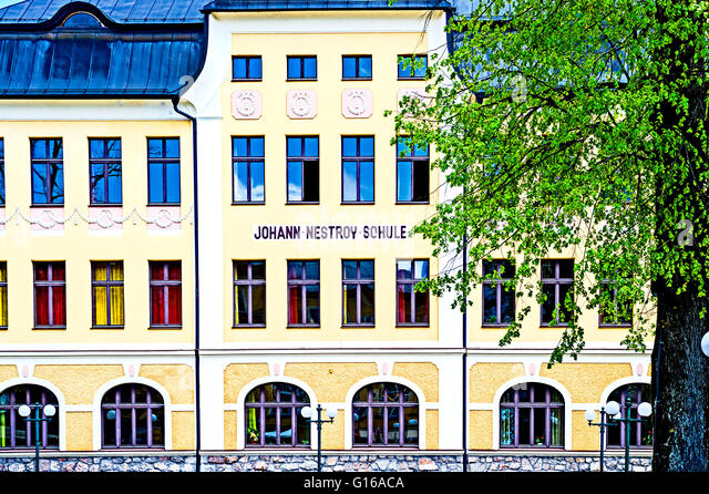 Bad Ischl, Johann Nestroy Schule, school named after Johann nestroy, - Stock-Bilder