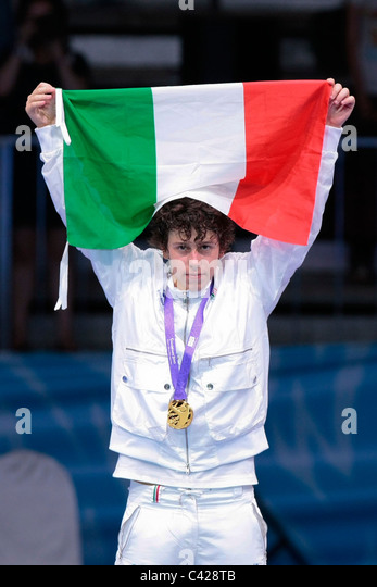 Edoardo Luperi during the Singapore Youth Olympic Games 2010 Cadet Male Individual Foil Fencing Medal Presentation. - Stock Image