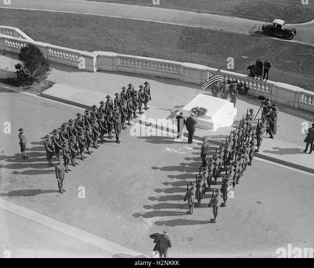 Military Formation at Tomb of Unknown Soldier, Arlington National Cemetery, Arlington, Virginia, USA, National Photo - Stock Image