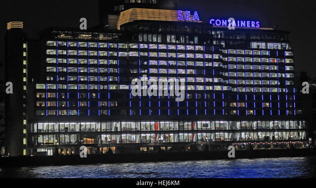 Sea Containers House, River Thames, London, England,UK at night - Stock Image