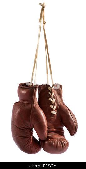 Hanging boxing gloves - Stock Image