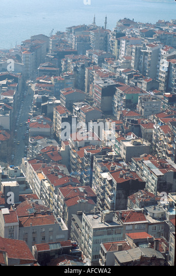 Turkey Istanbul view of Cihangir Quarter from Galata Tower - Stock Image