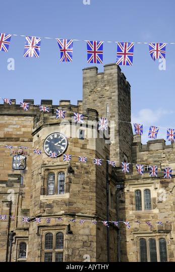 England UK Durham City Durham Castle University College Norman architecture Union Jack - Stock Image