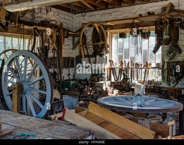 Inside a Wheelwrights workshop at the Amberley Museum & Heritage Centre - Stock Image