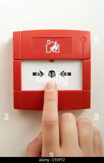 Break-glass fire alarm - Stock Image