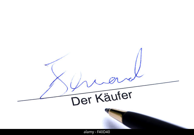 Signature of Purchaser - Stock Image