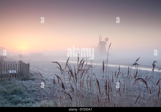 Horsey Drainage Mill at sunrise on a winter morning. - Stock Image