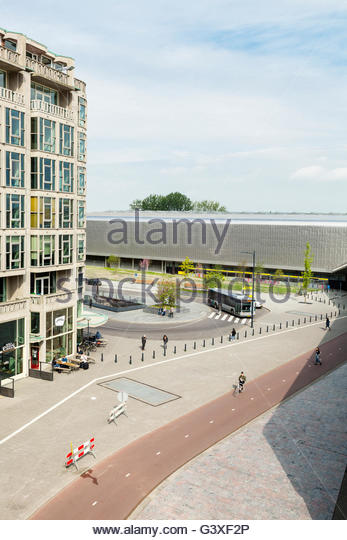 Engels cafe and Central station, Rotterdam, Holland. - Stock Image