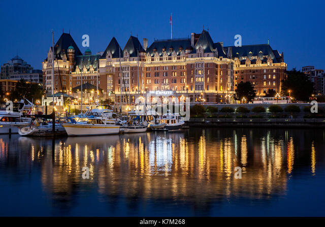 Empress Hotel at Night - Inner Harbour - Victoria, Vancouver Island, British Columbia, Canada - Stock Image