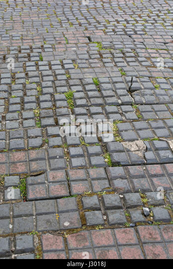 Section of squared pavement in Truro, Cornwall. - Stock Image