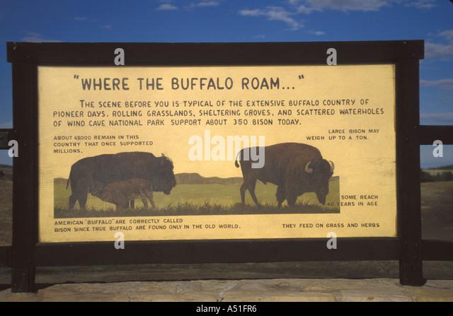 Animal American bison buffalo sign - Stock Image