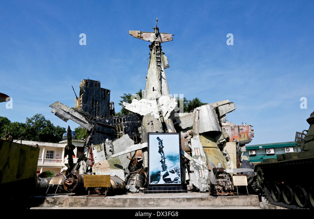 The wreckage of captured American planes at the Vietnam military history Museum,  Hanoi, Vietnam, South East Asia - Stock Image