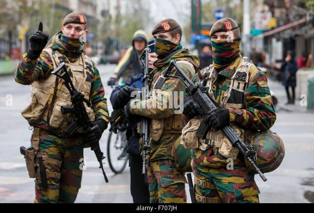 Brussels, Belgium. 22nd November, 2015. Belgian soldiers patrol in central Brussels, capital of Belgium, on Nov. - Stock Image