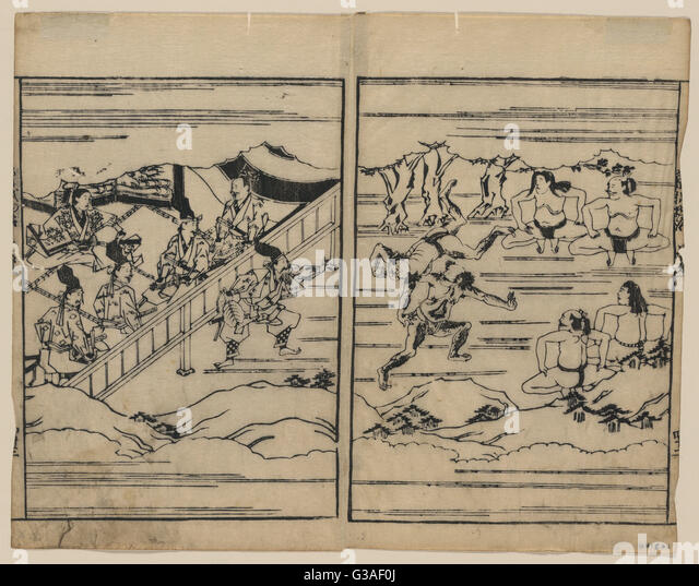 Sumo. Print showing scenes related to the Soga family. Date 16--. - Stock Image