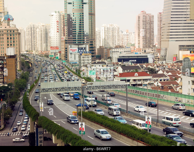 Elevated highway in shanghai - Stock Image