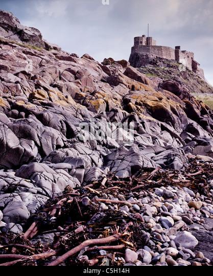 Lindisfarne Castle, on Holy Island off the coast of Northumberland - Stock Image