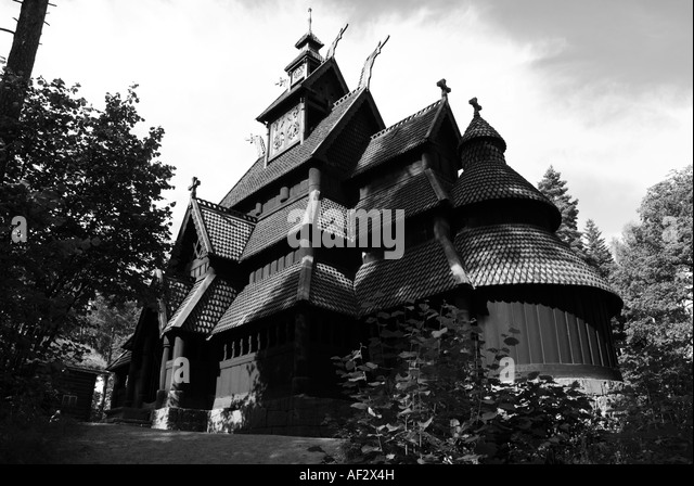 The stave church from Gol in Hallingdal, built about 1200. - Stock Image