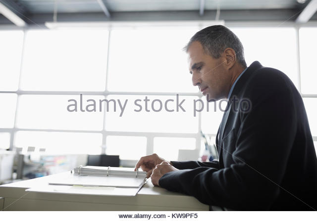 Focused mature businessman reviewing paperwork in office - Stock Image