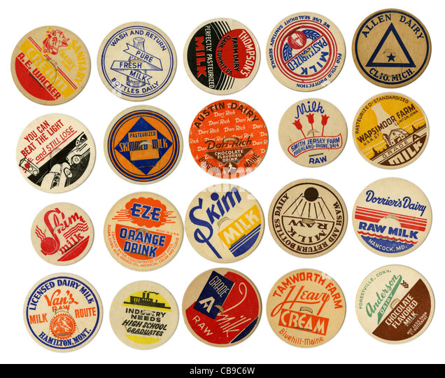 Assorted vintage 1950s milk caps. - Stock Image
