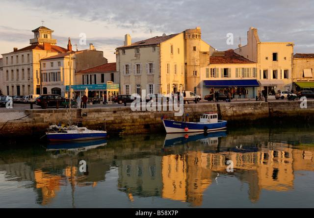 View of the Clemenceau Quay, port area, Saint Martin, Ile de Re, Charente Maritime, France, Europe - Stock Image