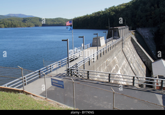 Tennessee Ocoee Cherokee National Forest Parksville Lake Scenic Highway 64 reservoir Ocoee Dam Number 1 fenced restricted - Stock Image