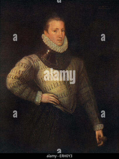 Philip Sidney portrait. English poet, 1554-1586. ( Lord de L'Isle and Dudley). - Stock Image