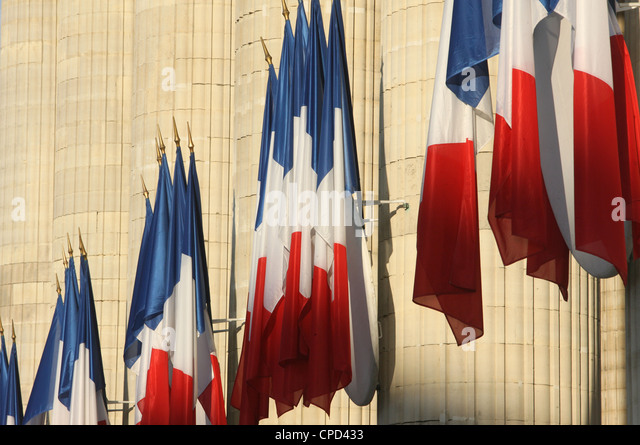 French flags outside the Pantheon, Paris, France, Europe - Stock-Bilder