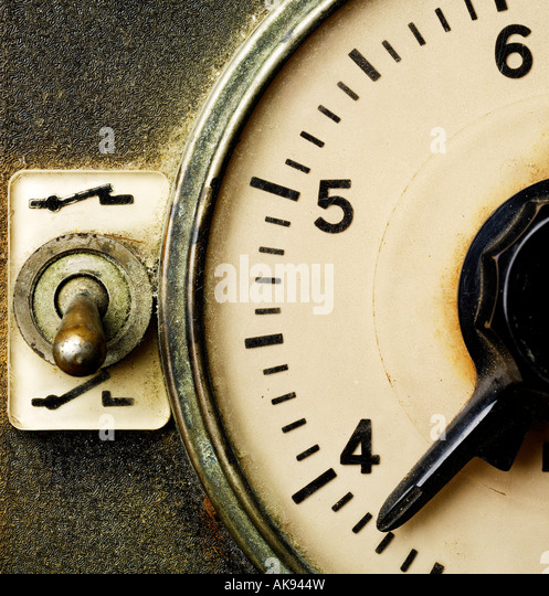 Close up of an old photographic darkroom timer - Stock Image