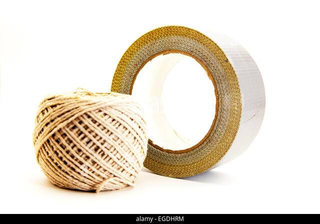 Duct tape roll of ball string diy cut out silver grey household 50 fifty shades bondage kit cutout white background - Stock Image