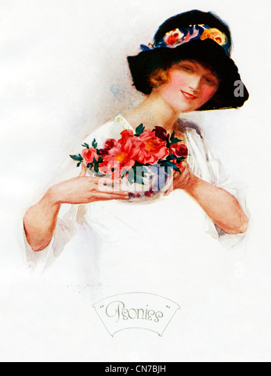Peonies, 1921 Art Deco illustration of a pretty girl in a black hat with a bowl of flowers - Stock Image