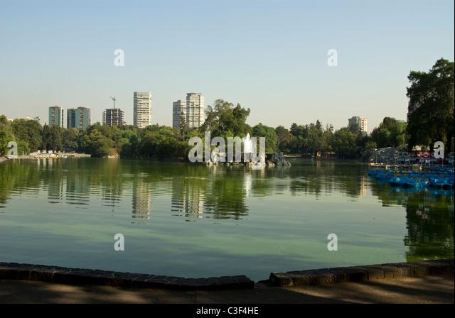 Mexico city. Chapultepec Park. The Lago Menor and the Polanco towers. - Stock Image