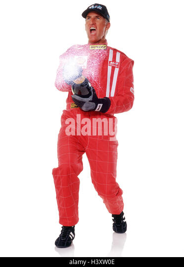 Motor sport, racing driver, overall, red, champagne Bottle, cheering, victory, success sport, racing sport, man, - Stock Image