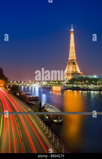 Blue Hour in Paris along the Seine on the Eiffeltower - Stock Image