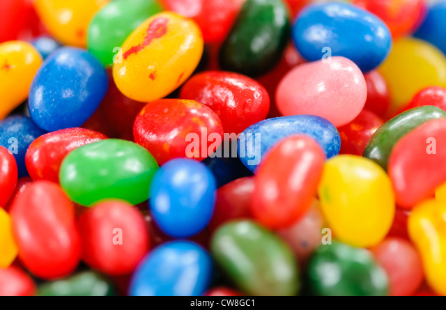 Closeup of Jelly Belly jellybeans - Stock Image