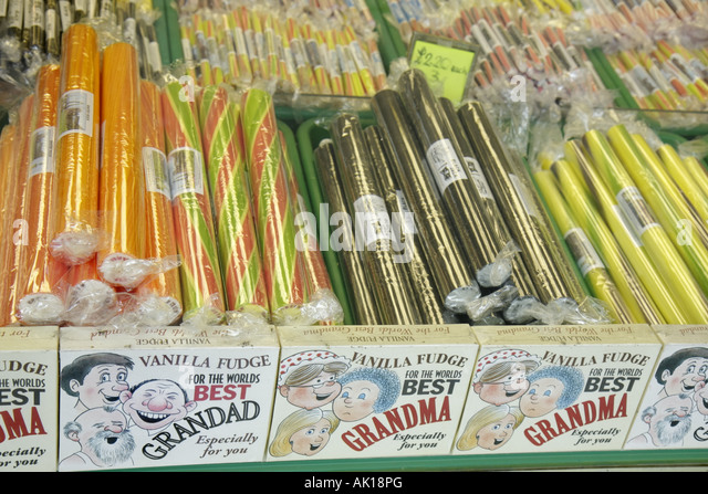 UK, England, Whitby, Sandgate, candy shop window display, vanilla fudge, - Stock Image