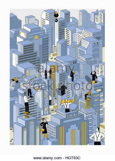 Successful business people on top of tall office blocks planning future development - Stock-Bilder