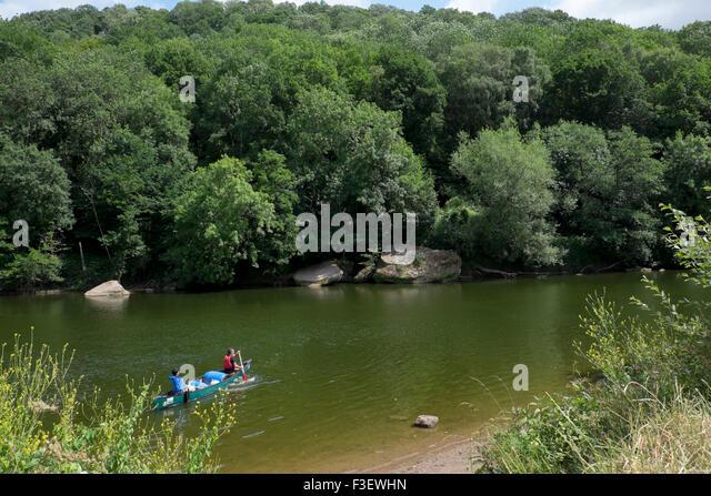 Canoeing on the River Wye near Symonds Yat, Herefordshire, England, UK - Stock Image