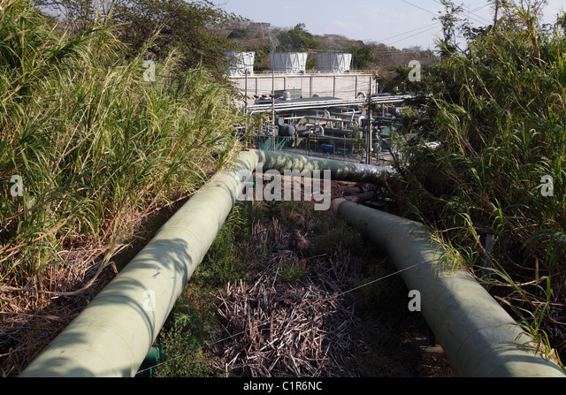 Geothermal power plant,  Miravalles, Costa Rica - Stock Image