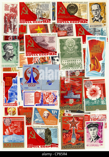 Historic postage stamps of the USSR, political motives, Historische Briefmarken der UdSSR, politische Motive - Stock Image