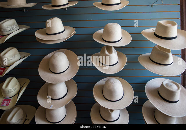 Hat Maker Sheila Kirpatrick shows off her famous creations in Twin Bridges, Montana,   June 21, 2014. Sheila keeps - Stock Image