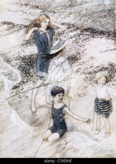 On The Beach, by Arthur Rackham. England, 1910 - Stock-Bilder