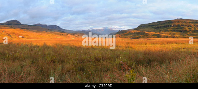 Panoramic view of the Mweni Valley at dawn, Drakensberg uKhahlamba National Park, Kwazulu-Natal, South Africa - Stock Image